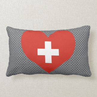 Flag of Swiss on metal background Throw Pillow