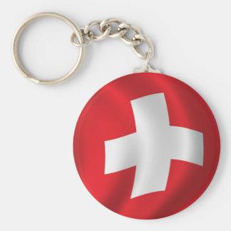 Flag of Switzerland Basic Round Button Key Ring
