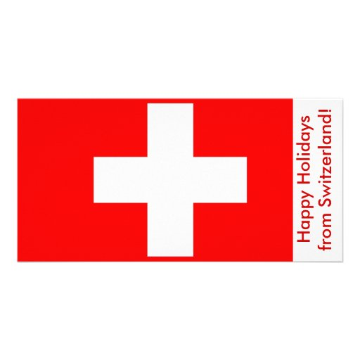 Flag of Switzerland, Happy Holidays Picture Card
