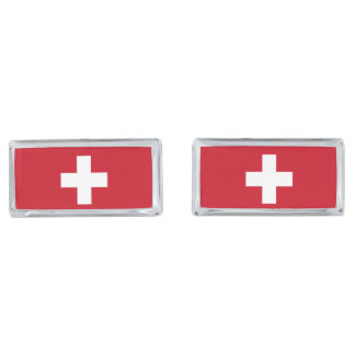 Flag of Switzerland Silver Finish Cufflinks