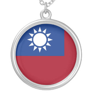 Flag of Taiwan Republic of China Silver Plated Necklace