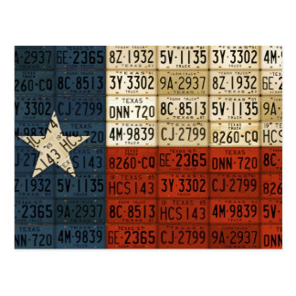 Flag of Texas Lone Star State License Plate Art Postcard