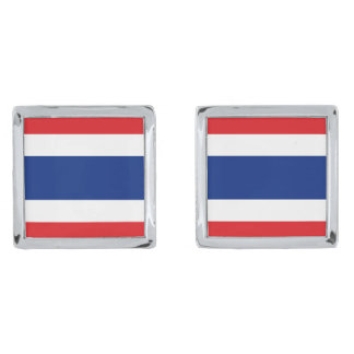 Flag of Thailand Silver Finish Cuff Links