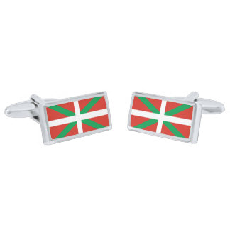 Flag of the Basque Country Cufflinks Silver Finish Cuff Links