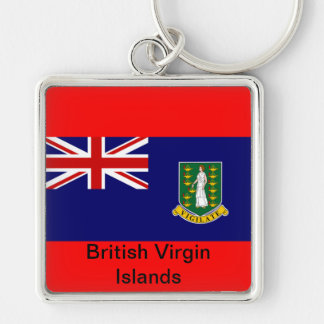 Flag of the British Virgin Islands Silver-Colored Square Key Ring