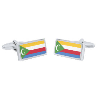 Flag of the Comoros Cufflinks Silver Finish Cuff Links