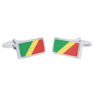 Flag of the Congo Republic Cufflinks Silver Finish Cuff Links