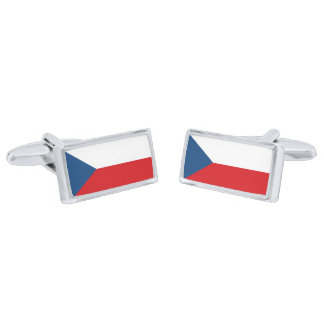 Flag of the Czech Republic Cufflinks Silver Finish Cuff Links