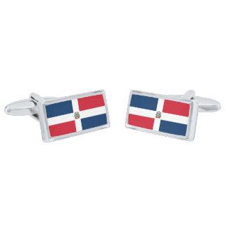 Flag of the Dominican Republic Cufflinks Silver Finish Cufflinks