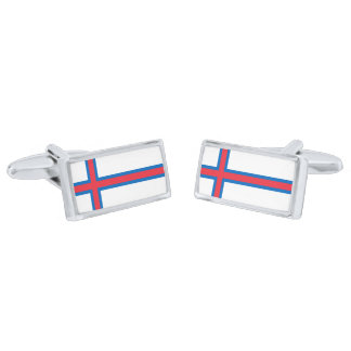 Flag of the Faroe Islands Cufflinks Silver Finish Cufflinks