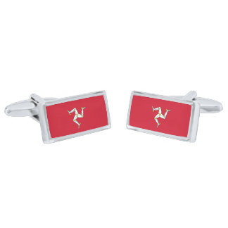Flag of the Isle of Man Cufflinks Silver Finish Cuff Links