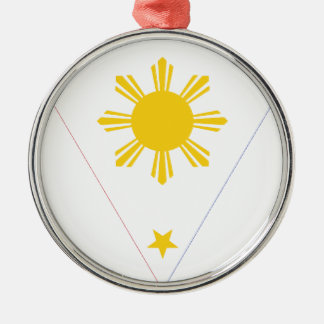 Flag of the Philippines - Tatlong Bituin at Isang Silver-Colored Round Decoration