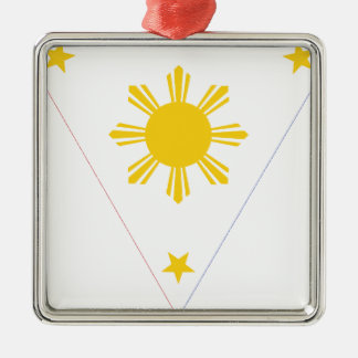 Flag of the Philippines - Tatlong Bituin at Isang Silver-Colored Square Decoration