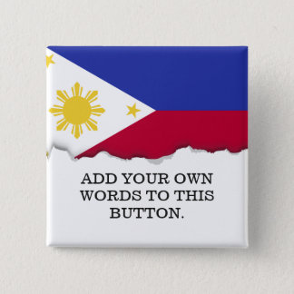 Flag of the Phillipines 15 Cm Square Badge