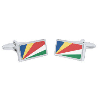 Flag of the Seychelles Cufflinks Silver Finish Cuff Links