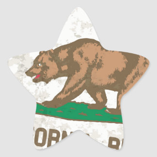 Flag of the State of California Grunge Star Sticker