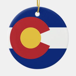 Flag of the State of Colorado Round Ceramic Decoration