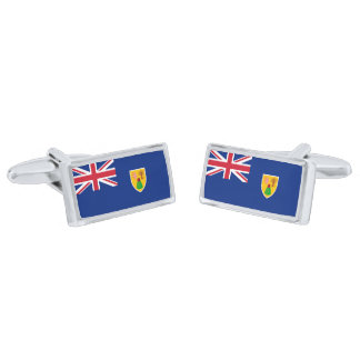 Flag of the Turks and Caicos Cufflinks Silver Finish Cufflinks