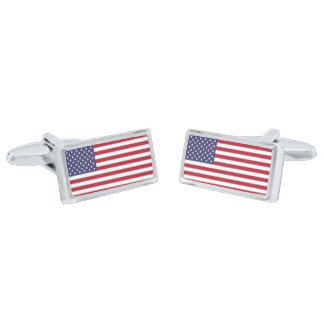 Flag of the United States Cufflinks Silver Finish Cuff Links