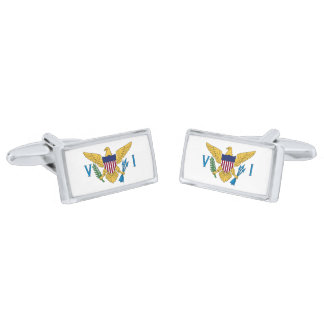 Flag of the US Virgin Islands Cufflinks Silver Finish Cuff Links