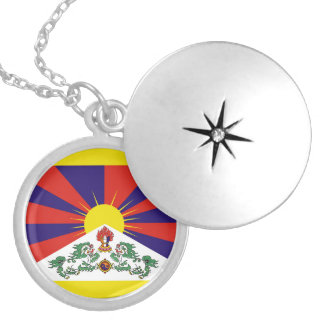 Flag of Tibet  or Snow Lion Flag Locket Necklace