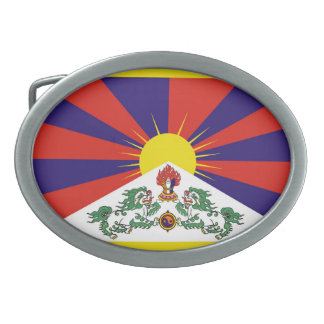 Flag of Tibet  or Snow Lion Flag Oval Belt Buckle