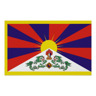 Flag of Tibet  or Snow Lion Flag Poster