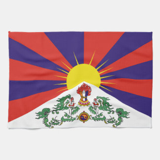 Flag of Tibet  or Snow Lion Flag Tea Towel