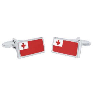 Flag of Tonga Cufflinks Silver Finish Cufflinks