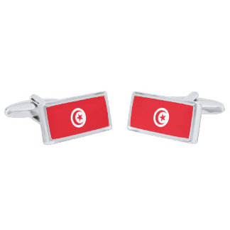 Flag of Tunisia Cufflinks Silver Finish Cufflinks