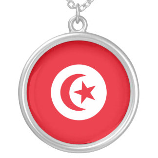 Flag of Tunisia Silver Plated Necklace