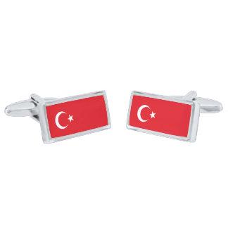 Flag of Turkey Cufflinks Silver Finish Cufflinks
