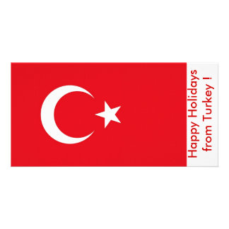 Flag of Turkey, Happy Holidays from Turkey Picture Card