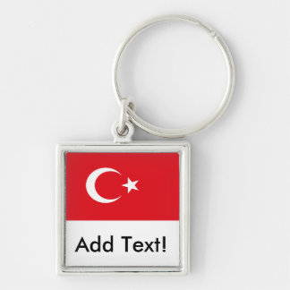 Flag of Turkey Silver-Colored Square Key Ring