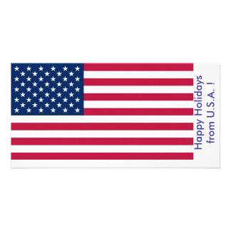 Flag of U.S.A., Happy Holidays from U.S.A. Picture Card