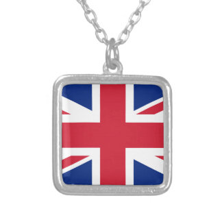 Flag of United Kingdom. Silver Plated Necklace