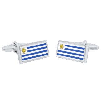 Flag of Uruguay Cufflinks Silver Finish Cufflinks