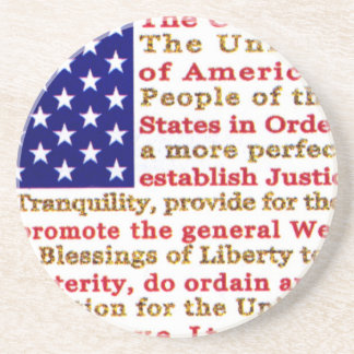 Flag Of USA American With Words the Constitution Coasters