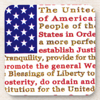 Flag Of USA American With Words the Constitution Coaster