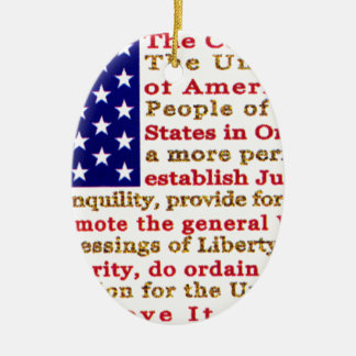Flag Of USA American With Words the Constitution Ornament
