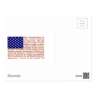 Flag Of USA American With Words the Constitution Postcard