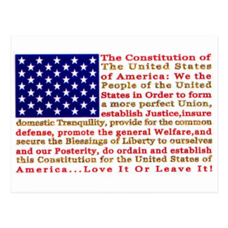 Flag Of USA American With Words the Constitution Post Card