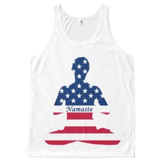 Flag of USA meditation American yoga All-Over Print Singlet