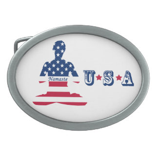 Flag of USA meditation American yoga Belt Buckle