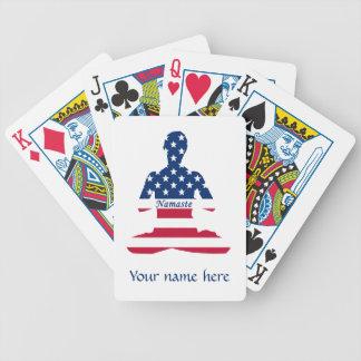Flag of USA meditation American yoga Bicycle Playing Cards