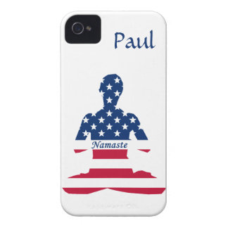 Flag of USA meditation American yoga iPhone 4 Case-Mate Cases