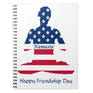 Flag of USA meditation American yoga Notebook