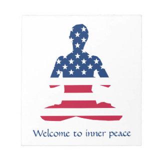 Flag of USA meditation American yoga Notepad