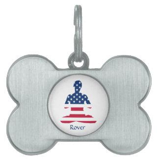 Flag of USA meditation American yoga Pet Name Tag