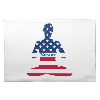 Flag of USA meditation American yoga Placemat